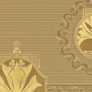 A repetitive design of alternating elaborately wreathed forms in the shape of hand mirrors centering a gold papyrus plant and similar gold flowerheads encased in cartouches, upon a beige striated ground, between complementary borders. Printed in white beige, tan, rust and gold.