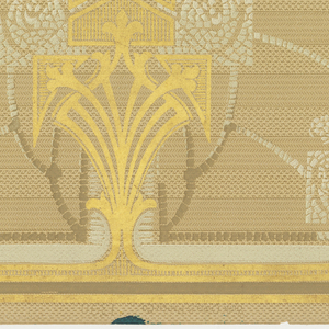A repeating design of large and small geometric chandeliers of gold, silvery gray and white hung from a complementary border, all connected by pearl-like chains, upon a beige ground ribbed with a brown geometric design. At the bottom, a faint design in white complementing the sequence above. Printed in beige, brown, white, silvery gray and gilt.