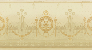 A repeating design of geometric medallions interconnected by jewel-like swags on a cream ground with a pale gray design of flowers in a vase-like formation in front of a fence which intersperses the darker design of medallions, between complementary borders. Printed in cream, gray, tan and bronze.