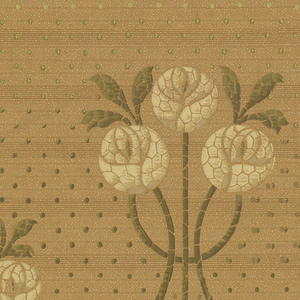 A repeating design of interconnecting geometric flowers, leaves and stems. Upon a beige tan ground overlaid with a darker brown linear system, interspersed by dots of pale turning into darker green, within complementary borders. Printed in yellow, ocher, tan, beige, olive green, forest green, brown, bronze and white.
