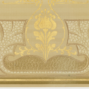 """A repeating design of art nouveau vase-shaped cartouches interspersed by similar, but smaller gold fleur-de-lis cartouches centering abstracted """"stone walls"""" upon a beige grid-filled background within borders of olive green and gold. Printed in beige, tan, olive green, gray, white, gold and cream."""