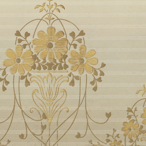 A repeating design of alternating large and small hanging floral baskets consisting of simple intertwined vines. Upon a striated gray background that becomes increasingly light towards the base. Printed in white, cream, gray, burnt umber and bronze.