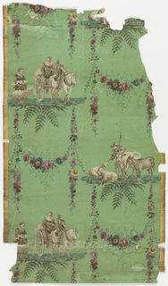Arabesque design with floral swags and two alternating pastoral scenes. One, horse drawn wagon followed by woman and sheep.  Two, shepherd with sheep and bull.  Figures printed in grisaille, swags in polychrome, all on green ground.
