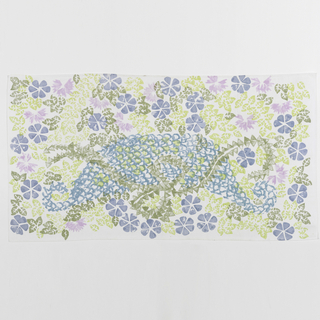 On a white cotton plain weave ground, a pattern of  leaves and flowers in violet, blue, light and dark green.