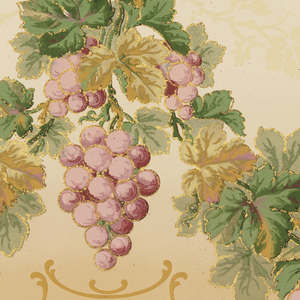 Flitter frieze containing swags of purple grapes, grape leaves, and tendrils. Printed in shades of purple, shades of green, tan and gold mica flakes on a tan background.