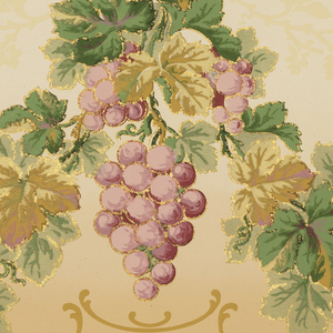 Flitter frieze with swags of grape clusters, grapeleaves, and tendrils. Printed in purples, greens, tans and gold mica flakes on a background that shades from medium tan to light tan.