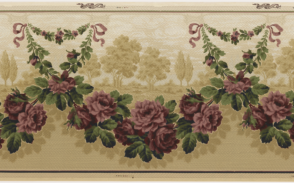 Small rose swag near top edge suspended by ribbons, extends down to near bottom edge of design and becomes larger in scale. A tan monochromatic landscape scene appears within the larger swag. A horizon line divides the design in half with the upper portion lighter than the bottom. Printed in deep red, green and shades of tan, overprinted with small dash marks.