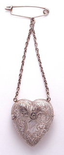 Heart with Attached Chain and Pin Matchsafe