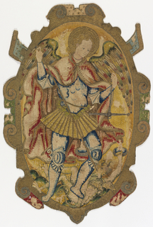 Escutcheon with the figure of Saint Michael the Archangel slaying Satan, within an oval framework.