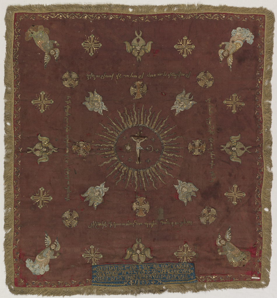 """Purple gauze over red silk. In center, a crucifix with the sun, moon and stars in silks and gold, surrounded by sun rays in paillettes and fine gold embroidery. Angels in the corners swing chalices and the ground is strewn with cherubim in silks and gold. Two inscriptions in Armenian, of which the earlier is undated: """"In memory of Lady Takouhi, deceased in Constantinople, daughter of Sir Tovma, the fat merchant and Muslim native of Tokat, and for the enjoyment of Archimandrite Aristakes."""" """"Rededicated to the memory of the soul of Mikael, the Deceased son of Sdépan Balian the pilgrim, at the Three Saints Church in Kutaia. 1809."""""""