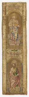 Orphrey from clerical vestments. Five rectangles, each containing a figure within architectural arches and capped by symmetrical floral motifs; three are from the back of orphrey and two from the front. Silk and metallic thread embroidered in or nué technique on linen.