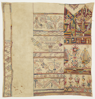 Square of undyed cotton partially filled with sections of borders and designs, some suggestive of Renaissance symmetrical stylized plant borders and some fantastic geometrical symmetrial floral repeats. In faded multicolored silk and cotton floss.