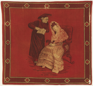 Red cotton handkerchief printed with the scene of a cleric pointing at a book before a seated woman. Printed at bottom: Le livre défendu (the forbidden book). Border with stripes and diamonds.