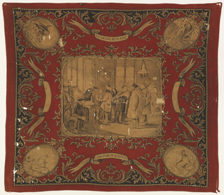 Red cotton handkerchief printed with black on cream showing a central scene of the interior of Louis Pasteur's laboratory. At left, Pasteur is shown seated administering a vaccine. Decorative scrolling border with medallions containing animals at each corner. Hemmed on the two ends.