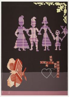 "Dark brown background with bands of taupe and rose at the bottom.  In the center, a group of cutout ""paper doll"" figures in pink plaid.  In the lower left, a red patterned butterfly.  Red printed ""x"" shapes reminiscent of counted-stitch embroidery. Interlocking hearts machine embroidered in red."