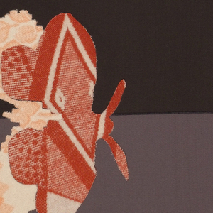 """Dark brown background with bands of taupe and rose at the bottom.  In the center, a group of cutout """"paper doll"""" figures in pink plaid.  In the lower left, a red patterned butterfly.  Red printed """"x"""" shapes reminiscent of counted-stitch embroidery. Interlocking hearts machine embroidered in red."""