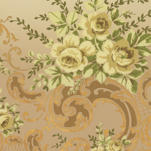 Scrolling foliage adorned by several floral bouquets. Small floral festoons across green band on bottom. Metalic-embossed gold band and beading at base. Shaded green background that is darker on bottom and lighter on top. Printed in yellow, green, and metalic gold.
