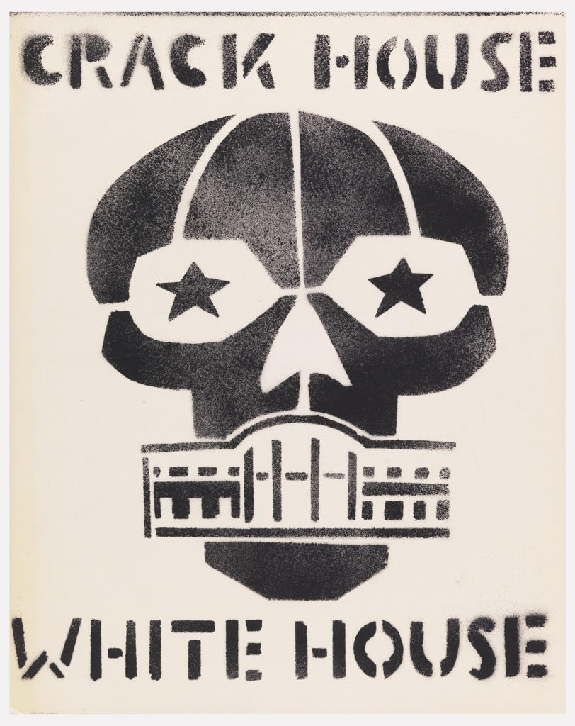 Black stencil; skull with White House as mouth, stars as eyes.