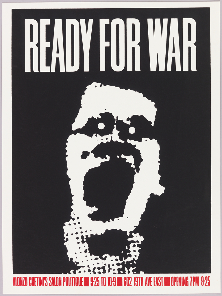 Abstracted black and white image of a man with mouth open. Above, in white: READY FOR WAR.