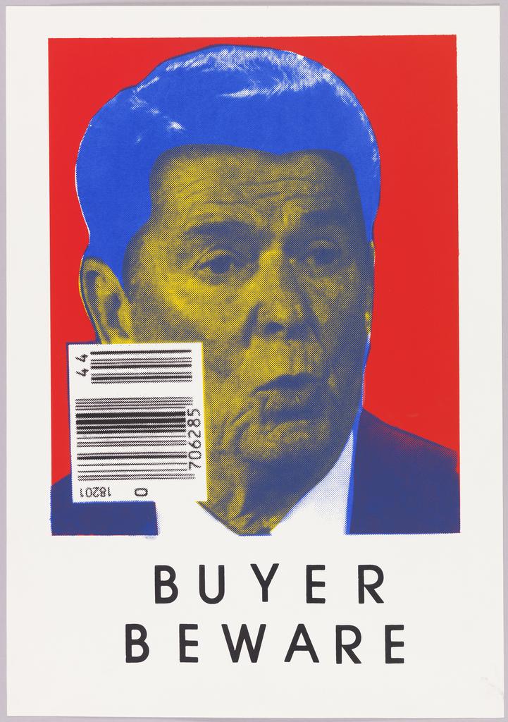 Photograph of Ronald Reagan with UPC code.