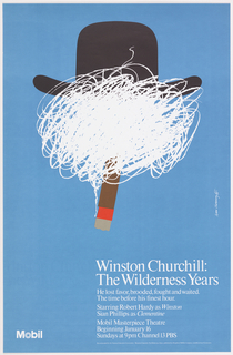 Poster advertising television series. On blue ground, the upper portion of the composition filled with a caricature of Winston Churchill: the figure is identifiable by a black bowler hat and a minimalist cigar, from which a scribbly cloud of white smoke obscures the figure's face. Printed white text below.