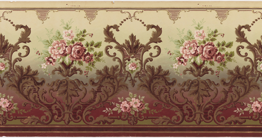 Alternating large and small floral bouquets framed by scrolling acanthus leafs. Background fades top to bottom from cream, to green, to burgundy. Printed in shades of brown, pink, cream, and green.