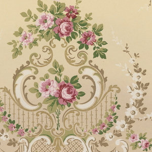 Floral swags connecting alternating floral large and small floral medallions. The large medallions contain bouquets of roses. Bottom contains curvilinear line of elongated acanthus leafs seperated by bouquets of roses. This lower portion is filled in with a grid mimicking a trellis. Printed in gold, white, and shades of pink and green.