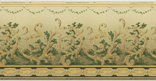 Large, scrolling, acanthus inspired swirls with a simplistic landscape background. A small swag of leaves runs across the top. A series of framed rectangles run across the bottom. Printed in gold, cream, white, brown, black, and shades of green.
