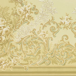 Series of scrolling acanthus leaf medallions filled with bouquets of roses and framed by a series of daisy-like flowers. A swag of roses runs across the bottom while a swag of acanthus-inspired lines runs across the top. Printed in gold, white, cream, and shades of brown and green.