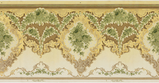 """Large medallions with bouquets of flowers in the center and framed by """"C"""" scrolls. Connected by two floral swags, one large and one small. A curviliar linear line consisting of thin """"C"""" scrolls runs across the top of the frieze. Printed in gold, silver, white, and shades of brown and green."""