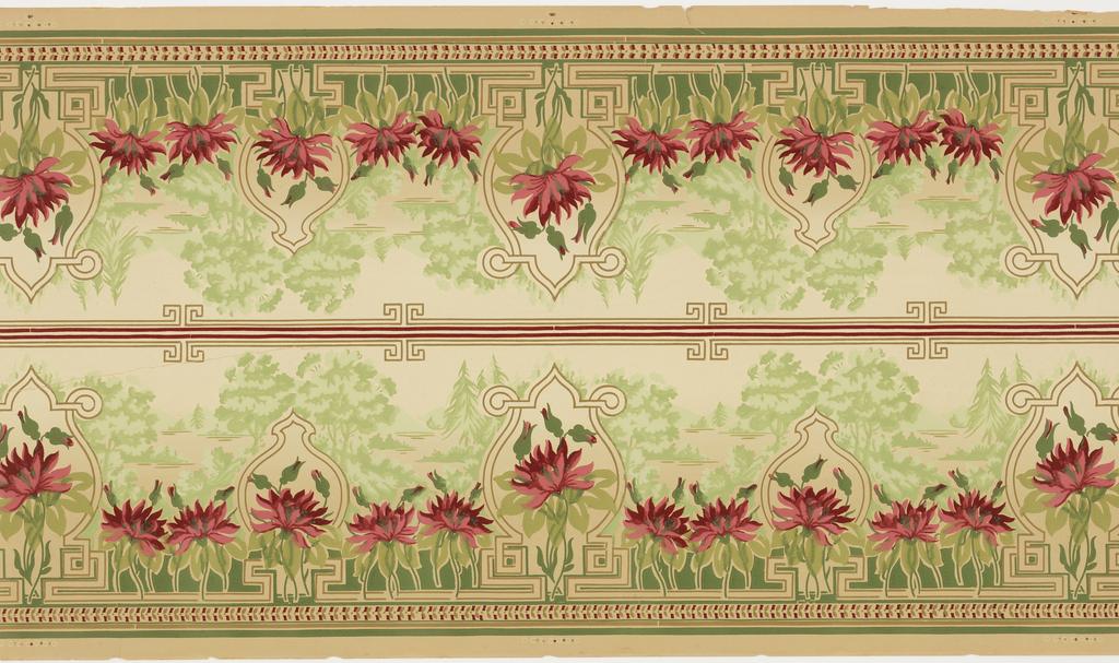 Landscape view with pine and deciduous trees, floral medallion in front; printed 2 across.
