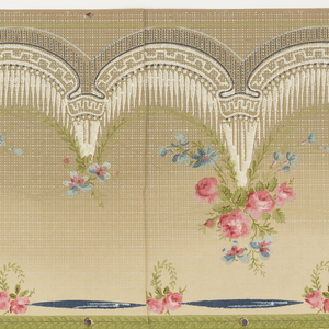 Drapery swags suspended by floral bouquets; band of ribbon across top. Two borders printed across the width.