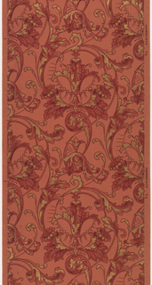 Scrolling foliage with beading and acanthus leaves. Ground is pink. Embossed paper with small flowers and scroll motif. Printed in pinks and metallic gold.