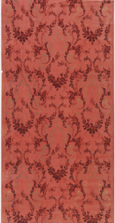 Vining floral scrolls and swags with metallic gold scrolls. Dark pink ground on paper embossed with horizontal lines of white liquid mica. Printed in reds, pink, dark red and metallic gold.