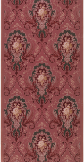 """Staggered floral medallions with floral bouquet insets and scale-like design (pinecones), connected by scrolls and floral vining. Ground is dark pink. Printed in dark green, reds, white, tan, light pink, and white mica. Printed in right selvedge: """"411"""""""