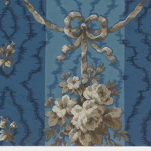 Moire stripe with festooned baskets of flowers hanging from ribbons. Printed in blue, dark blue and taupe.
