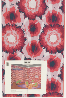 Large flattened flowers disected by rays of light. Printed in bright pink, shades of red, black and silver. Room illustration attached.
