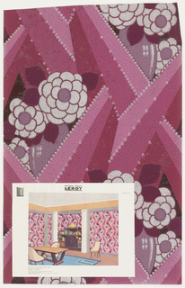 Leather-imitation paper, bold rays form a lattice which reveals large flattened flowers in vases. Printed in dark pink, medium pink, light pink, magenta and silver. Room illustration is attached.
