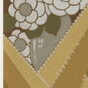 Leather imitation paper; bold rays form a lattice that reveals flattened flowers in vases. Printed in pale brown, dark brown, medium yellow, olive and silver.