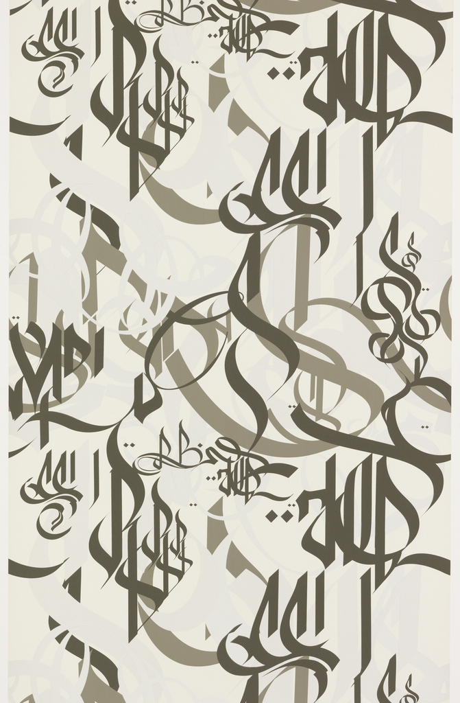 All-over pattern created by calligraphic-like markings. Printed in black, green and silver on off-white ground.