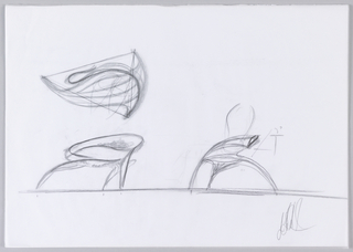 Recto: Sketch of Enignum Free Form Chair in plan view at top and right and left side views below. Verso: Sketch of Enignum Free Form Chair in plan view.
