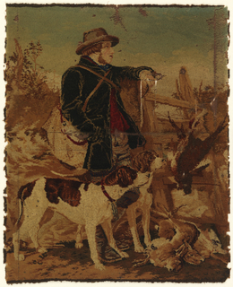 """Mosaic"" carpet sample. Worsted threads glued on linen backing showing a game-keeper in a round-brimmed hat, leaning against a ladder over a hedge with a bag slung over his shoulder, a pile of game at his feet, two hounds beside him; after Richard Ansdell."