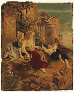 """""""Mosaic"""" carpet. Worsted threads glued on linen backing showing a scene of a reclining youth and two girl with birds on a rocky outcrop below ruins."""