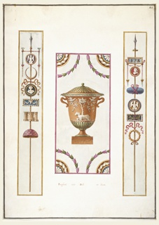 "Three wall panel decor: First panel: A steak with embellishments, at top a point; a cameo with a winged bird; upward crescent; cameo of a bust; cameo of scroll (?) with a garland; castle or group of columns; half a sphere. Second panel: An urn with a lid covered in foliage.  Central image of urn is a tree with a nest of birds and two other birds facing and at the foot of the tree is ram. Third panel: A steak with embellishments, at top a spear; a cameo with initials ""SPR""; a cameo of a profile with red background; oval shaped objects tired with red ribbon; cameo of a winged bird; next a cameo of cross spears tied with a bow/ last a wreath of gold foliage."