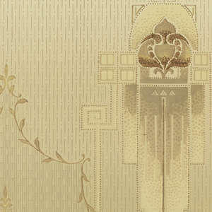 A repeating art nouveau design of geometric cartouches containing a linear flower abstraction. Connected by elongated frets to a smaller complementary cartouche alternately framed on the bottom and top by vine on a ground that becomes darker towards the base with a linear overall design between horizontal banded borders. Printed in olive green, taupe, beige, bronze, gold and dark brown.
