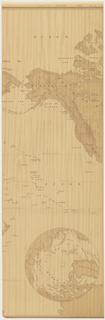 Map showing World War II national boundaries. Printed in tan on wood grain ground.