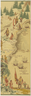 Topographical map showing major explorers including Daniel Boone, William Penn, The Pilgrims, Ponce de Leon and Columbus. Includes figures of explorers and Indians, and ships at sea. Panel B.
