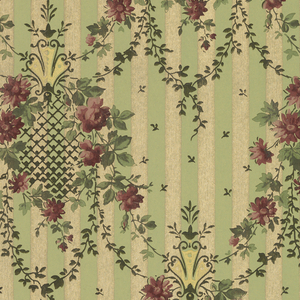"""Small circular floral medallions with diaper floral swag, foliate swag, and connected by vining. Small individual leaves in between medallions and vining. Background has stripes of green and mica gold. Ground is green and embossed with foliate scroll pattern. Printed in greens, gold mica, pinks, and yellow.  Printed in selvedge: """"166"""""""