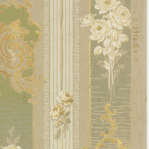 Floral stripe design, with acanthus scroll medallions alternating with bouquets on white flowers on the wider vertical green stripes. This alternates with a narrower off-white stripe printed with pinstripes and smaller floral garnishes. Printed in green, off-white, brown, and metallic gold on taupe ground.