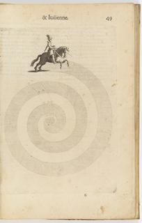 Book Illustration, La cavalerie françoise et italienne, ou, L'art de bien dresser les chevaux, selon les preceptes des bonnes écoles des deux nations . . . , Spiral dressage pattern, plate 49